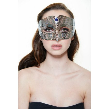 KAYSO INC BD008BLSL LUXURY ROMAN GUARD FILIGREE LASER CUT METAL MASK (SILVER WITH BLUE RHINESTONES)