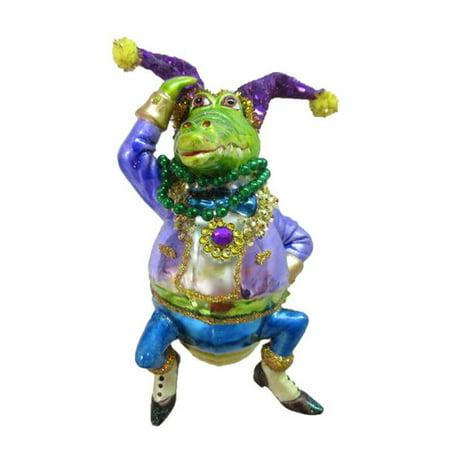 December Diamonds Male Crocodile Mardi Gras Theme Glass Ornament 79-81010 5 Inches
