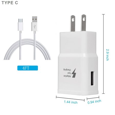 Adaptive Fast Charging Set - Car+Home Wall Charger+USB Data Cable Compatible with Alcatel 7 / REVVL 2 Plus Devices - Accessory Kit 4 in 1 - White - image 7 de 9