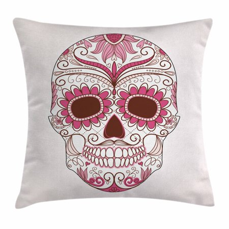Sugar Skull Decor Throw Pillow Cushion Cover, Mexican Ornaments Calavera Catrina Inspired Folk Art Macabre, Decorative Square Accent Pillow Case, 16 X 16 Inches, Pink Light Pink White, by Ambesonne - La Catrina Sugar Skull
