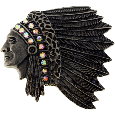 Vintage Style Native Indian Chief War Bonnet Pin Brooch