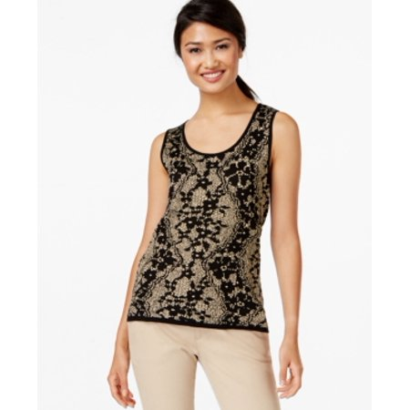 Lace Silk Wrap (August Silk Women's Sleeveless Gold Lace Top Size XS)