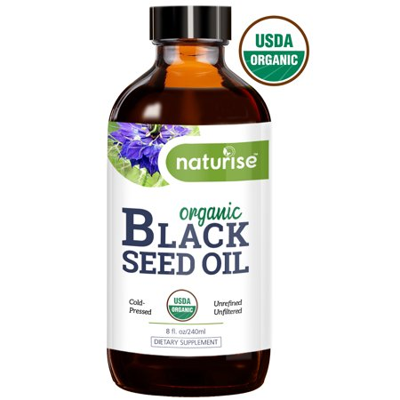 Naturise Black Seed Oil Organic Cold Pressed, 8 oz. Black Cumin Seed Oil, Nigella Sativa, Source of Essential Fatty Acids, Omega 3 6 9, Super Antioxidant for Immune Boost, Joints, Skin & Hair