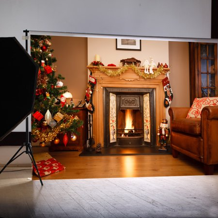 7x5FT Christmas Tree Fireplace Party Decorations Photography Backdrops Background Photo Studio Props - Fireplace Christmas Decorations