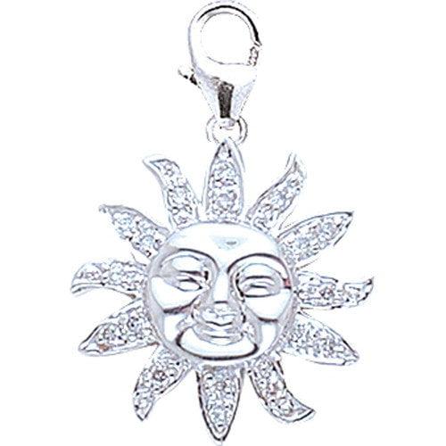 EZ Charms 14K White Gold Diamond Sun Charm