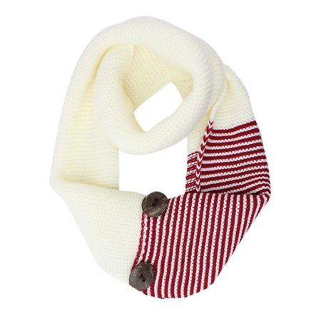 Stripe & Solid Knit Infinity Collar Scarf (Black And Gray Striped Scarf)