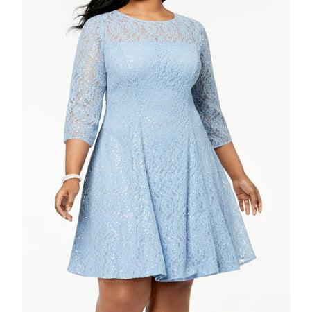 SLNY Cloud Womens Plus Sequined Lace Sheath Dress