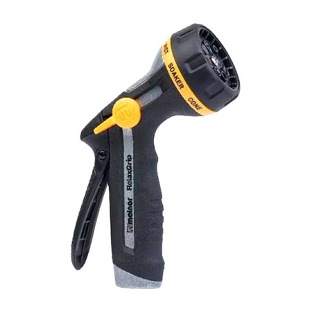 Adjustable 0.5 Nozzle (Melnor R201 RelaxGrip 8 Pattern Adjustable Metal Hose Nozzle, Black/Yellow )