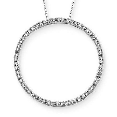 14K White Gold 1/2 ct. Diamond Circle Pendant with Chain 1/2 Ct Diamond Circle Pendant