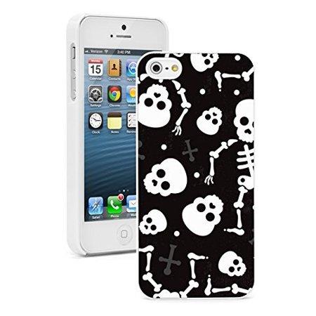 Apple iPhone 6 6s Hard Back Case Cover Halloween Happy Skulls Skeletons Pattern (White)