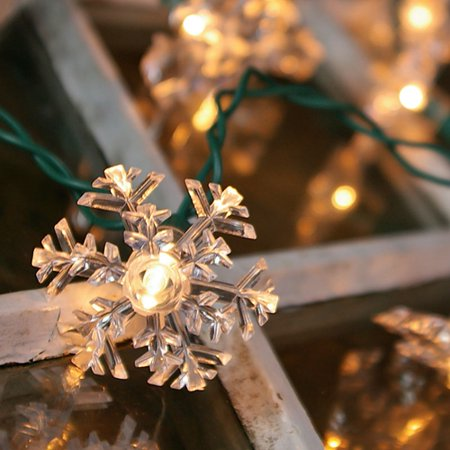 Christmas Lights String Lights 35 Double Layer Snowflakes Green Wire Plug In - Walmart.com