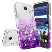 For TracFone Alcatel TCL LX (A502DL) Case Alcatel 1X Evolve, Alcatel IdealXTRA Case,w/[Temper Glass] Cute Glitter Liquid Quicksand Waterfall Floating Sparkle Bling Diamond Girls Women - Clear/Purple