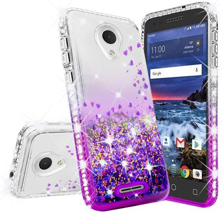 Cute Phone Case Bling for Alcatel Avalon V (5059S)/Alcatel TCL LX (A502DL)/Alcatel 1X Evolve/Alcatel IdealXTRA Case [Full Cover Temper Glass] Liquid Glitter Shock Proof for Girls Women - Clear/Purple