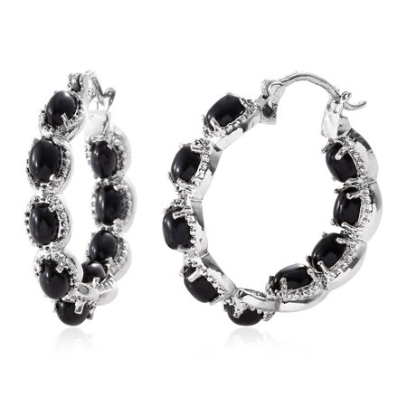 Shop LC - Black Onyx Stainless Steel Inside Out Hoop Women
