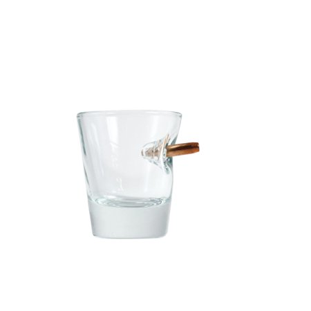 1 Oz Shot Glass (Bulletproof Shot Glass - 1 1/2 oz Glass with Real Bullet Imbedded in)