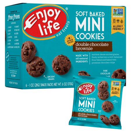 Foods Gluten Free Chocolate - Enjoy Life Foods Gluten Free, Allergy Friendly Soft Baked Double Chocolate Brownie Mini Cookies