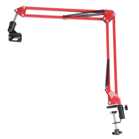 Reactionnx Professional Recording Cantilever Microphone Stand Red Adjustable Microphone Suspension Boom Scissor Arm Stand for Radio Broadcasting Studio Voice-Over Sound Studio Stages and TV Stations Professional Recording Sound Cards