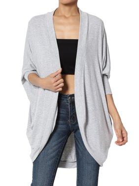 TheMogan Women's PLUS Draped Jersey Knit 3/4 Sleeve Oversized Open Front Cardigan
