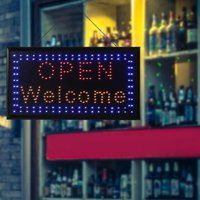 FAGINEY Neon Sign, Outdoor LED Sign,1pc Large Bright LED Shop Sign Board Neon Light Window Door Hang Sign OPEN WELCOME