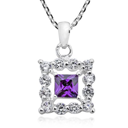 Elegant Square Framed Purple Cubic Zirconia  Sterling Silver Necklace