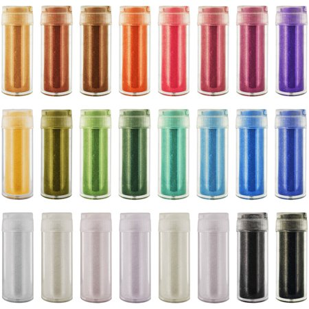U.S. Art Supply Jewelescent 24 Color Set of Mica Pearl Powder Pigment in 9 Gram Shaker Bottles - Non-Toxic