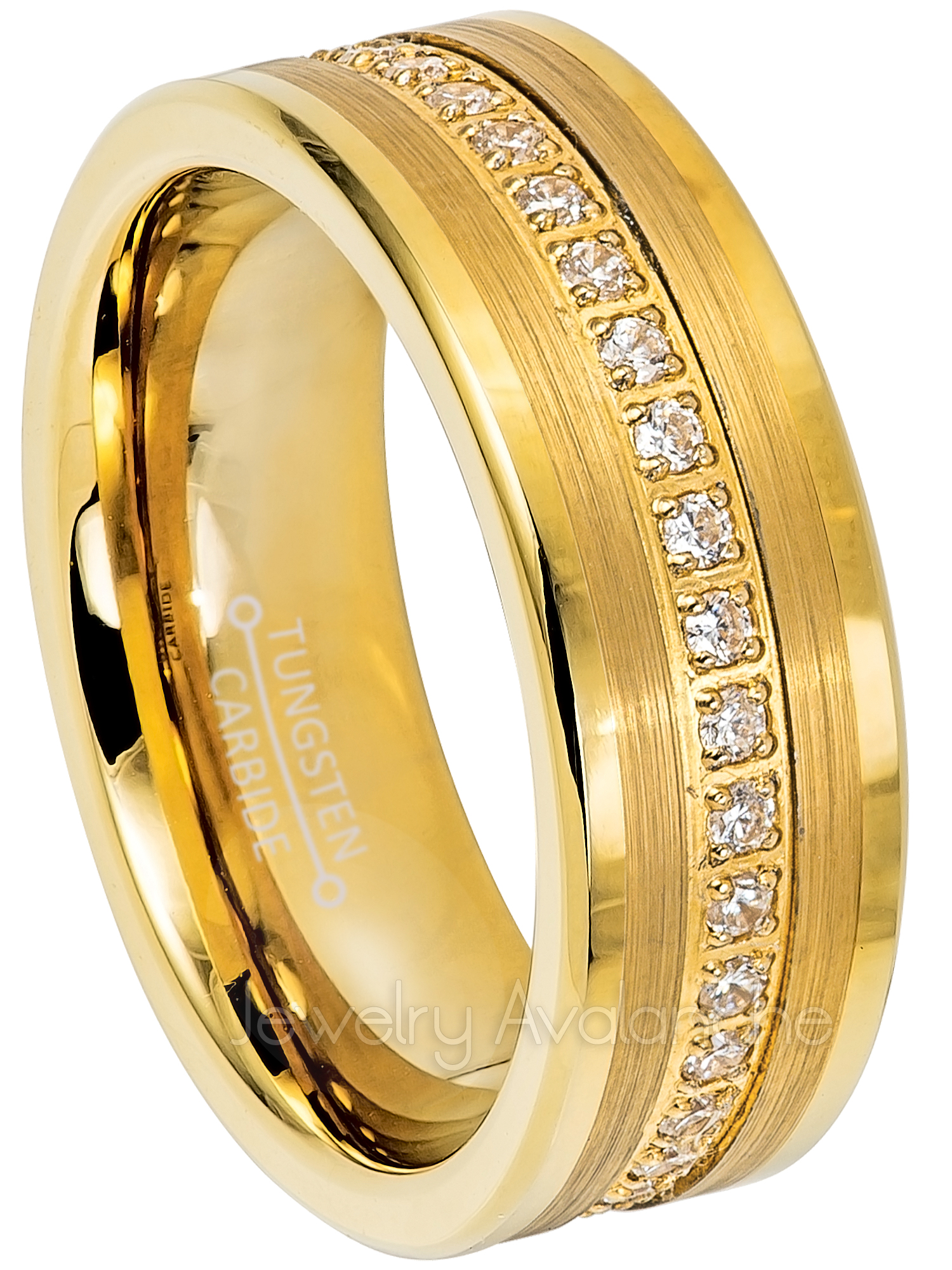 Tungsten Wedding Ring - Band for Mens 8mm Yellow Gold Plated Tungsten Eternity Ring CZ Accented - Comfort Fit Pipe Cut Tungsten Carbide Ring - TN776s7