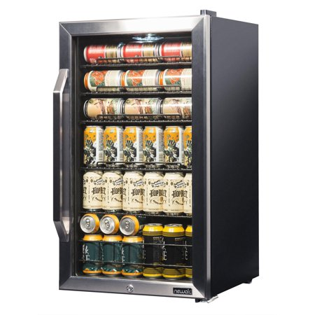 NewAir Premium Stainless Steel 126 Can Beverage Refrigerator and Cooler with SplitShelf Design, (Best Refrigerator For The Money 2019)