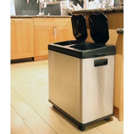 BNJ 16 gal. Dual-Compartment Touchless Sensor Recycle Can Stainless Steel (Gas Metal Can)