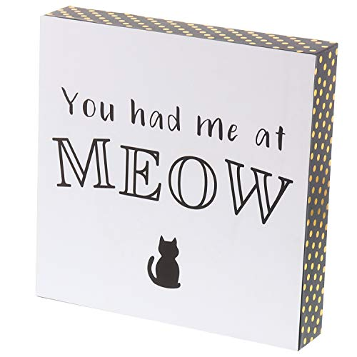"Barnyard Designs You Had Me At Meow Cat Box Sign Decorative Wood Funny Quote Wall Decor 8"" x 8"""