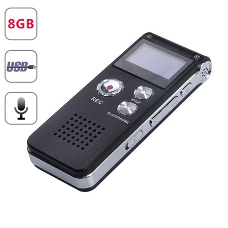 Mini Black Rechargeable 8GB Digital Audio Dictaphone MP3 Player Voice