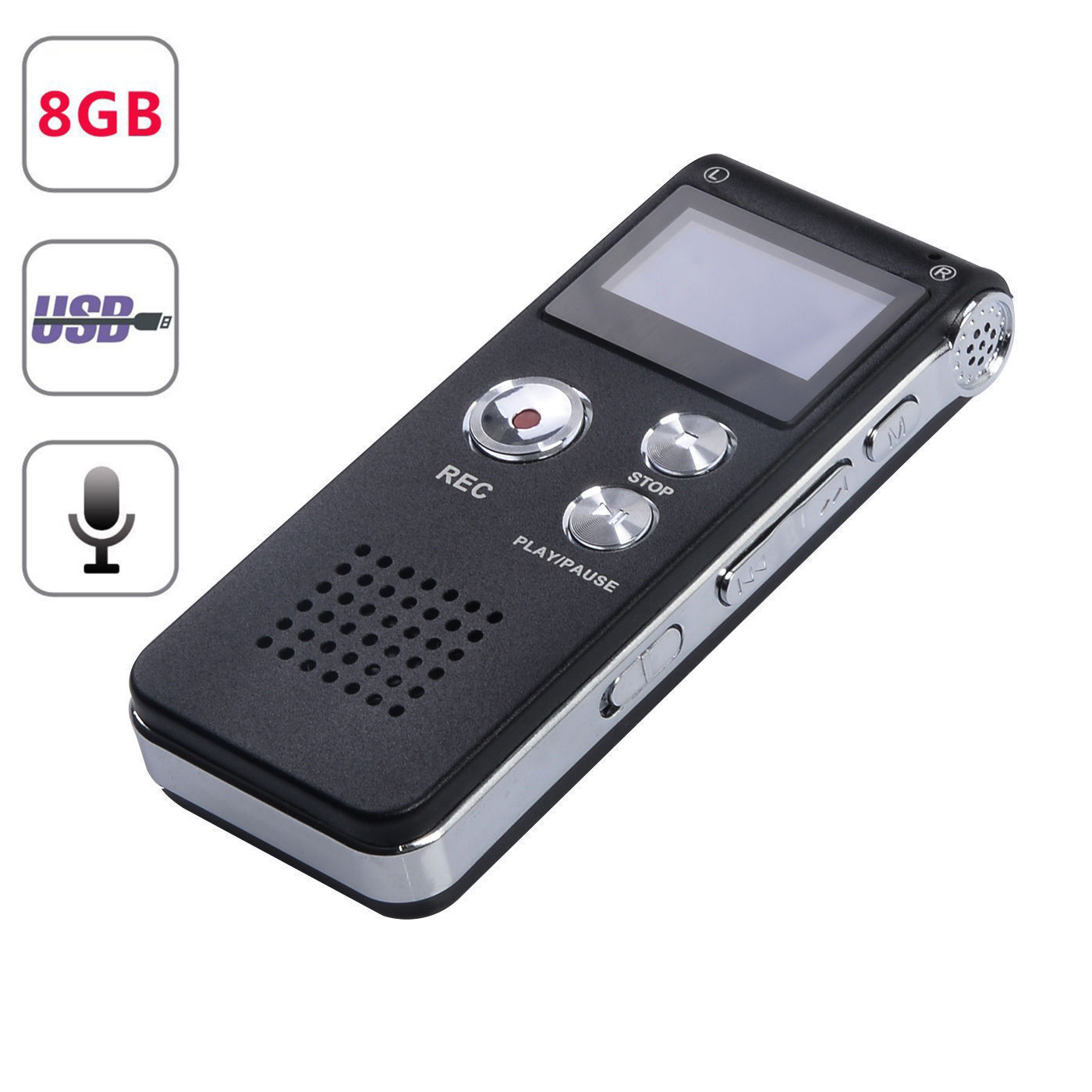 Mini Black Rechargeable 8GB Digital Audio Dictaphone MP3 Player Voice Recorder