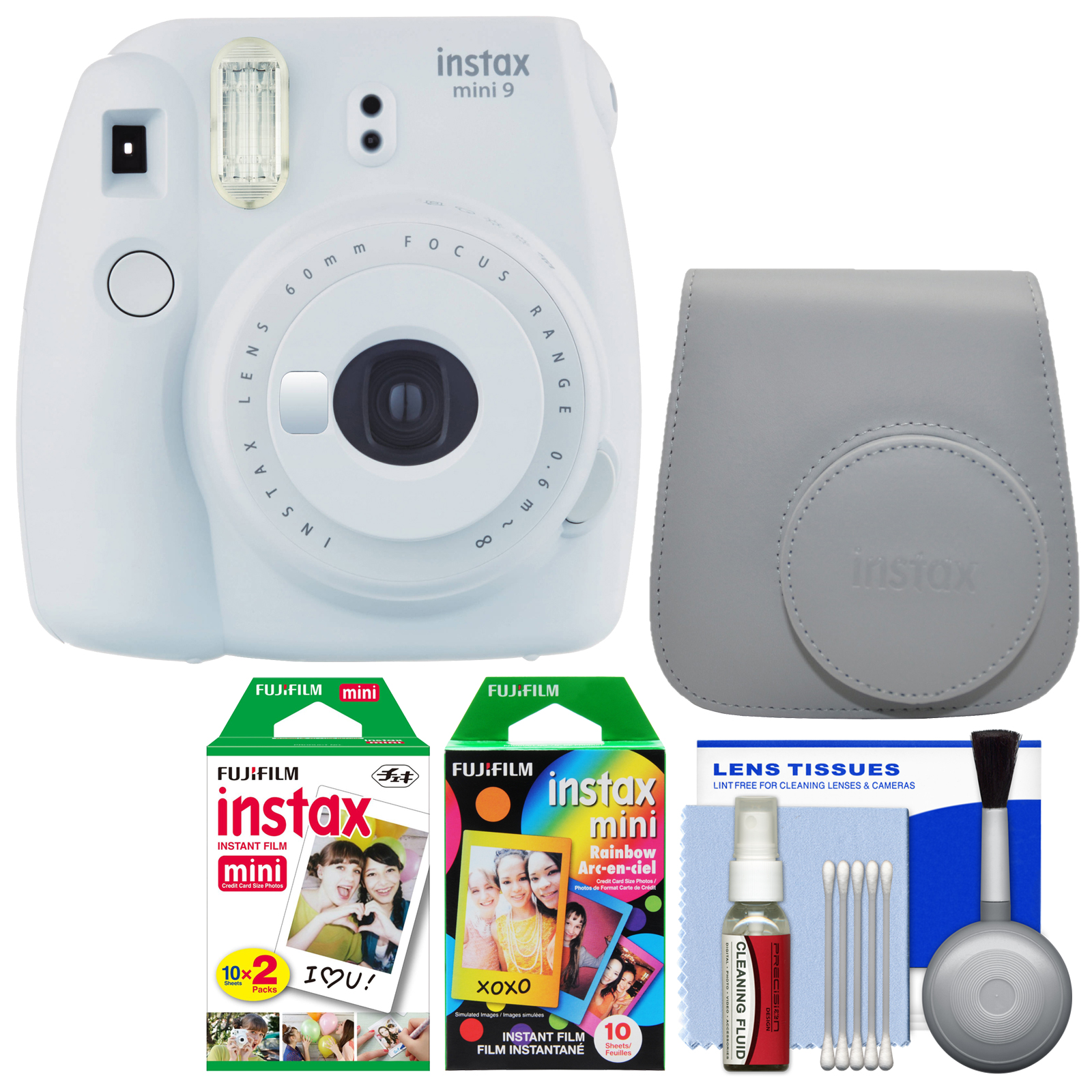 Fujifilm Instax Mini 9 Instant Film Camera (Smokey White) with Case + 20 Twin & 10 Rainbow Prints + Cleaning Kit