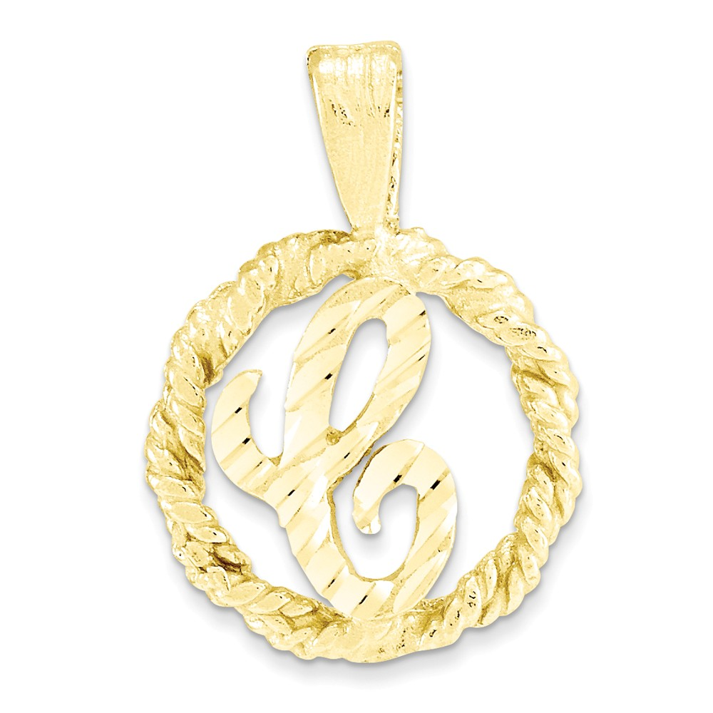 10k Yellow Gold D/C Circle with Initial C Inside Pendant