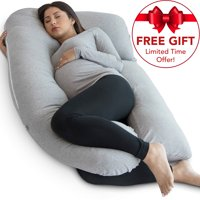 PharMeDoc Full Body Pregnancy Pillow - U Shaped Body Pillow with Travel Bag - Maternity Pillow for Pregnant Women w/ Detachable Extension