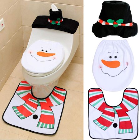 Toilet Lid Tank Cover and Rug Set Bathroom Christmas Decorations Party Gifts - (Snowman Party Decorations)