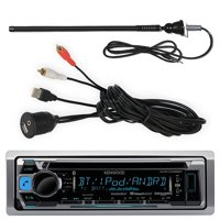 Kenwood KMR-D365BT Marine Yacht CD MP3 Bluetooth Stereo iPod iPhone Stereo With Enrock Marine Flexible AM/FM Radio Antenna And E