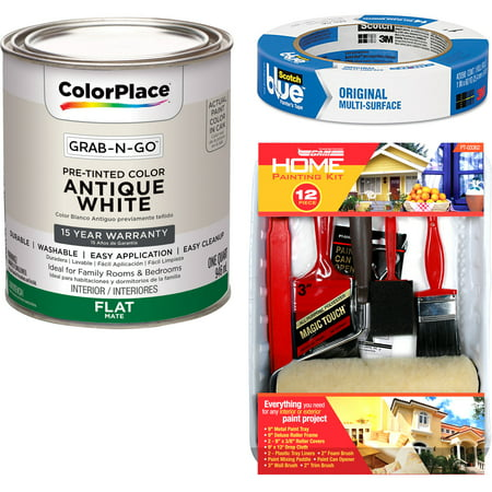 ColorPlace Grab-N-Go Antique White Interior Paint with ScotchBlue Painter;s Tape Original Multi-Use, .94in x 60yd(24mm x 54,8m Bundle