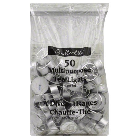 - Candle Lite 50 Pack Unscented Tea Light Candle, 50 tea lights