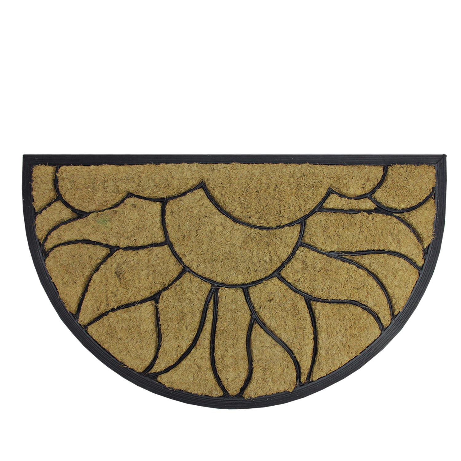 Decorative Black Rubber And Coir Outdoor Half Round Door Mat 29 75 X 17