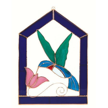 Gift Essentials Hummingbird Purple Steeple Window Panel