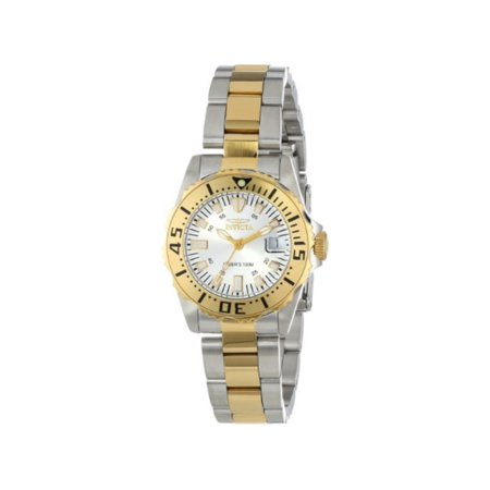 - Invicta 14371 Womens Pro Diver Silver Dial Two Tone Steel Bracelet Date Watch