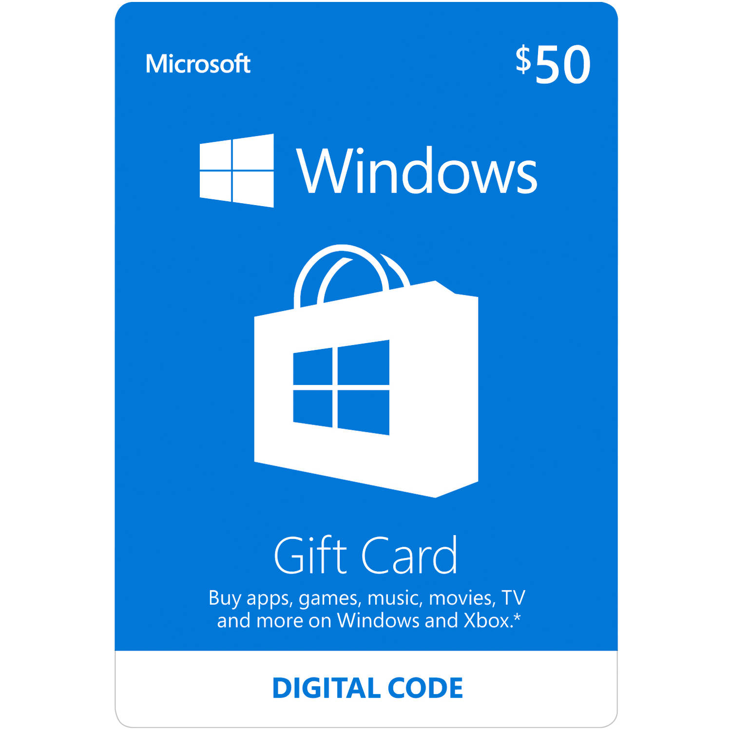 Microsoft Windows Store Gift Card Digital $50 (Digital Code)