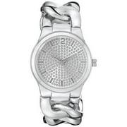 Vernier Paris Women's Pave' Crystal Dial Chain Link Watch