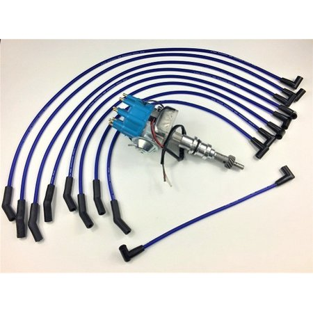 FORD FE BLUE HEI Distributor + 8mm SPARK PLUG WIRES 332 352 360 390 Hei Plug Wires on