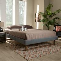 Baxton Studio Liliya Mid-Century Modern Dark Grey Fabric Upholstered Walnut Brown Finished Wood King Size Platform Bed Frame