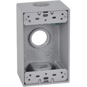 Hubbell Electrical FSB75-3 1 Gang Rectangular Outlet Box With Three 0.75 in. Holes, Gray