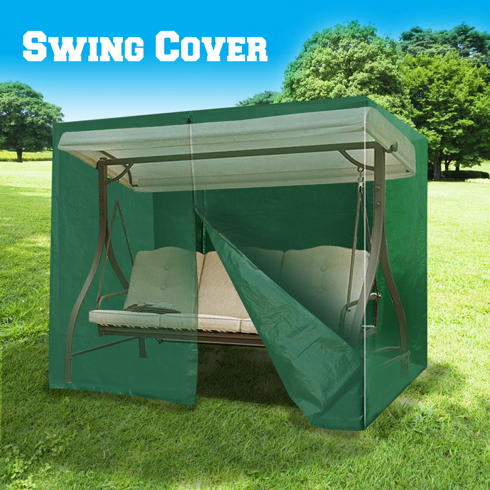 Sunrise Outdoor Patio 3 Seat Swing Cover Protector, Furniture Cover, Tan