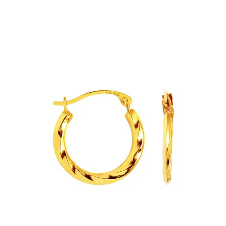 10K Yellow Gold Twisted Hoop