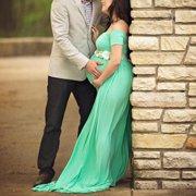 Pregnant Women Cotton Gown Maxi Dress Wedding Party Prop Dresses Photography Sky Blue Size L