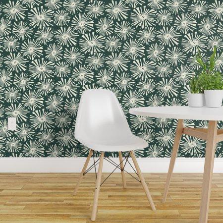 Wallpaper Roll Starburst Block Cactus Flower Mid Century Sunburst 24in